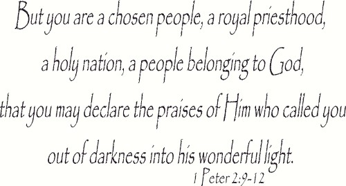 1 Peter 2:9-12 ~ Vinyl Wall Decal by Scripture Wall Art Image