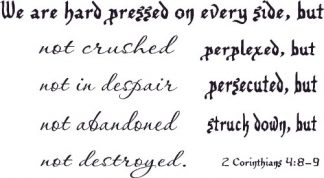 2 Corinthians 4:8-9 Christian Vinyl Wall Quotes