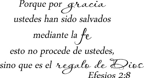 Efesios 2:8 Spanish Vinyl Wall Decal by Scripture Wall Art Image