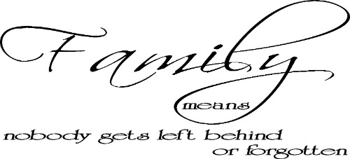 Family Means Nobody Gets Left Behind Or Forgotten Vinyl Wall Quote Image