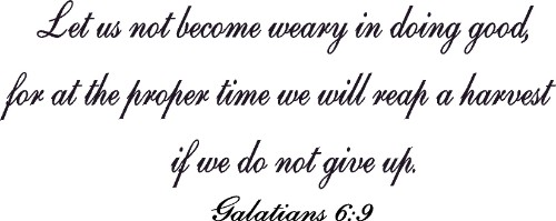 Galatians 6:9 Vinyl Wall Decal by Scripture Wall Art Image