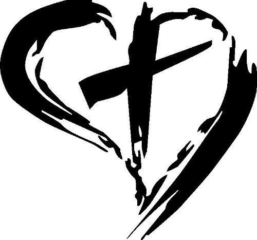 Cross in Heart Vinyl Wall Decal by Scripture Wall Art Image