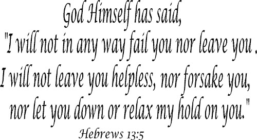Hebrews 13:5 Vinyl Wall Decal by Scripture Wall Art Image