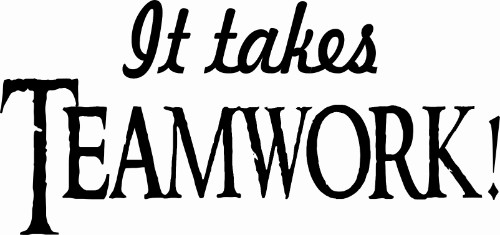 It Takes Teamwork ~ Motivational Vinyl Wall Decal Image