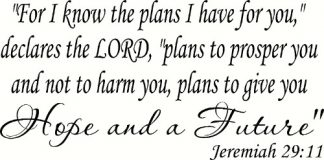 Jeremiah 29:11 Bible Verse Wall Decal