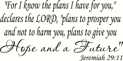 Jeremiah 29:11 V3 Bible Verse Wall Decal by Scripture Wall Art Image