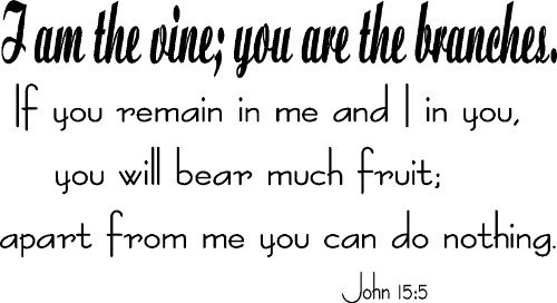 John 15:5 Vinyl Wall Decal by Scripture Wall Art Image