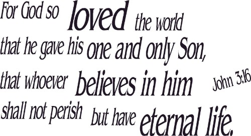 John 3:16 Vinyl Wall Decal by Scripture Wall Art Image