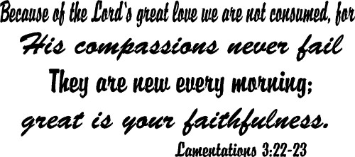 Lamentations 3:22-23 Vinyl Wall Decal by Scripture Wall Art Image