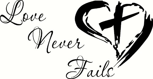 Love Never Fails Vinyl Wall Decal by Scripture Wall Art Image
