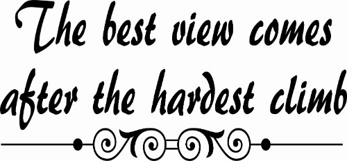 The Best View Comes After... Motivational Wall Quote Decal Image