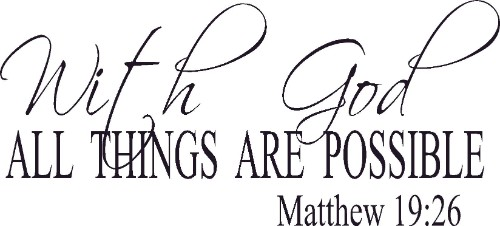 Matthew 19:26 Vinyl Wall Decal by Scripture Wall Art Image
