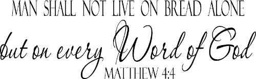 Matthew 4:4 Vinyl Wall Decal by Scripture Wall Art Image