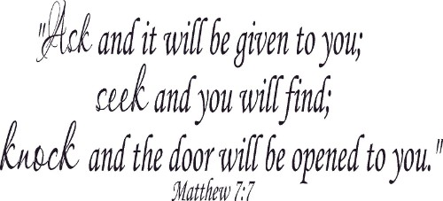 Matthew 7:7 ~ Vinyl Wall Decal by Scripture Wall Art Image