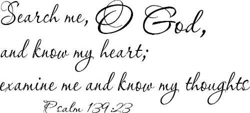 Psalm 139:23 Vinyl Wall Decal by Scripture Wall Art Image