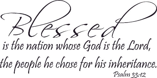 Psalm 33:12 Vinyl Wall Decal by Scripture Wall Art Image