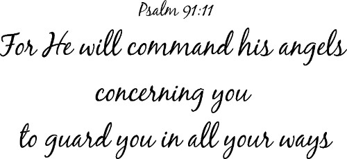 Psalm 91:11 Vinyl Wall Decal by Scripture Wall Art Image