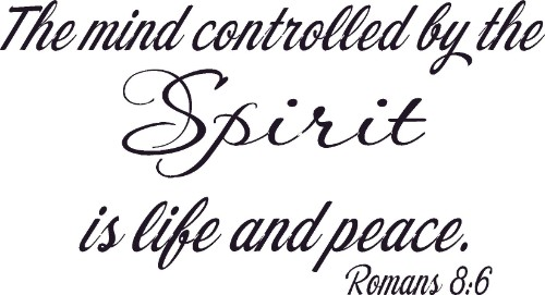 Romans 8:6 Vinyl Wall Decal by Scripture Wall Art Image