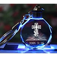 John 3:16 Keychain ~ Crystal with Led Light Image