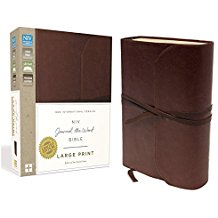 NIV, Journal the Word Bible, Large Print, Premium Leather, Brown Image