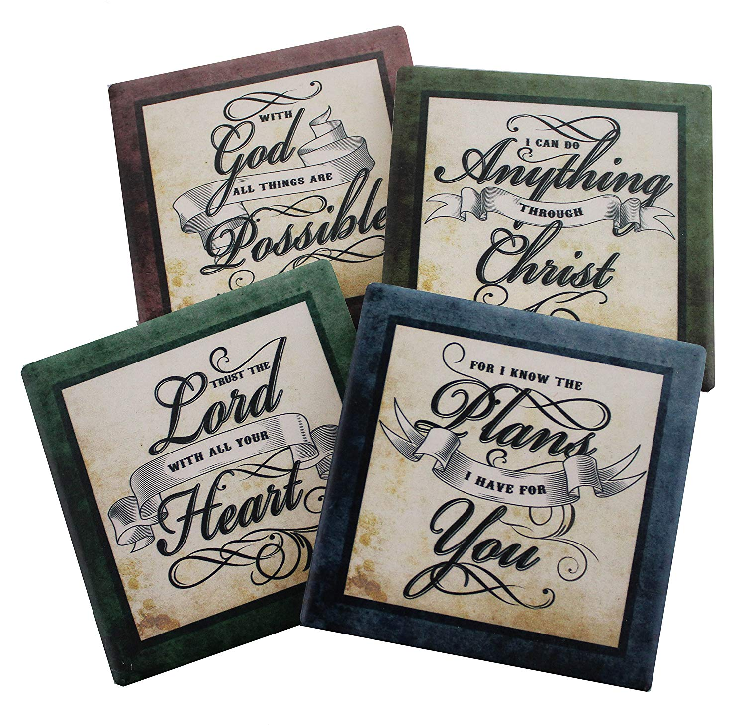 Inspirational Scriptures Coaster Set of 4 | Encouraging Verses to Protect Your Furniture | Christian and Spiritual Gifts and Decor Image