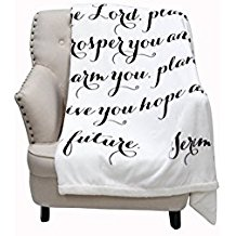 Luxuriously Soft Scripture Throw Blanket | Jeremiah 29:11 | 50x60 inches (Ivory) Image