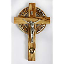 Olive Wood Crucifix / Wall Cross adorned with stones from Jerusalem and the words Image