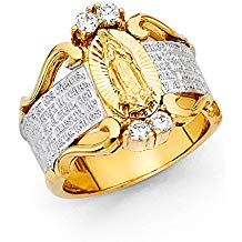 Ioka - 14K Yellow Solid Gold Cubic Zirconia CZ Dios te salve, Maria Virgin Mary Religious Ring Image