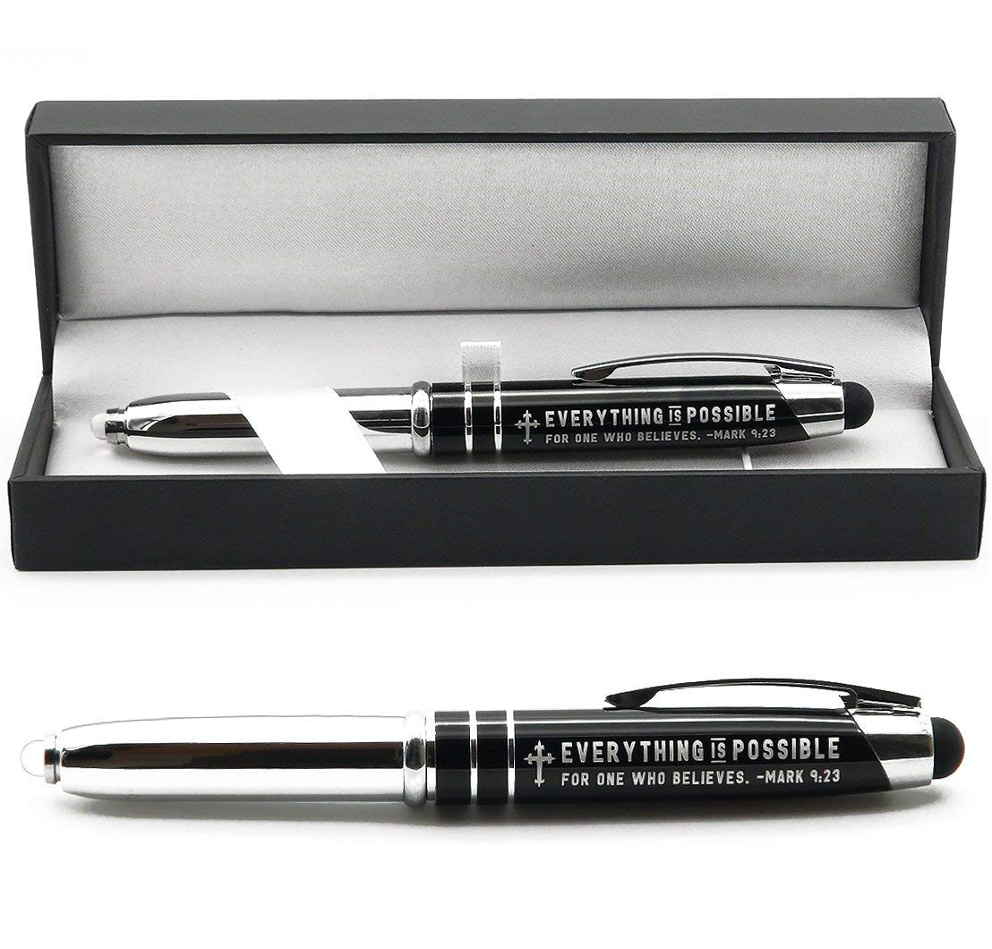 Mark 9:23 Engraved Bible Gift Pen with Flashlight and Stylus - Image