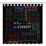 Wknoon 72 x 72 Inch Shower Curtain, Christian Bible Verse Scripture Quotes Colorful Design Art, Waterproof Polyester Fabric Decorative Bathroom Bath Curtains Image