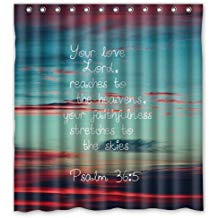 Shower Curtain with Psalm 36:5 Gift Item for Christians