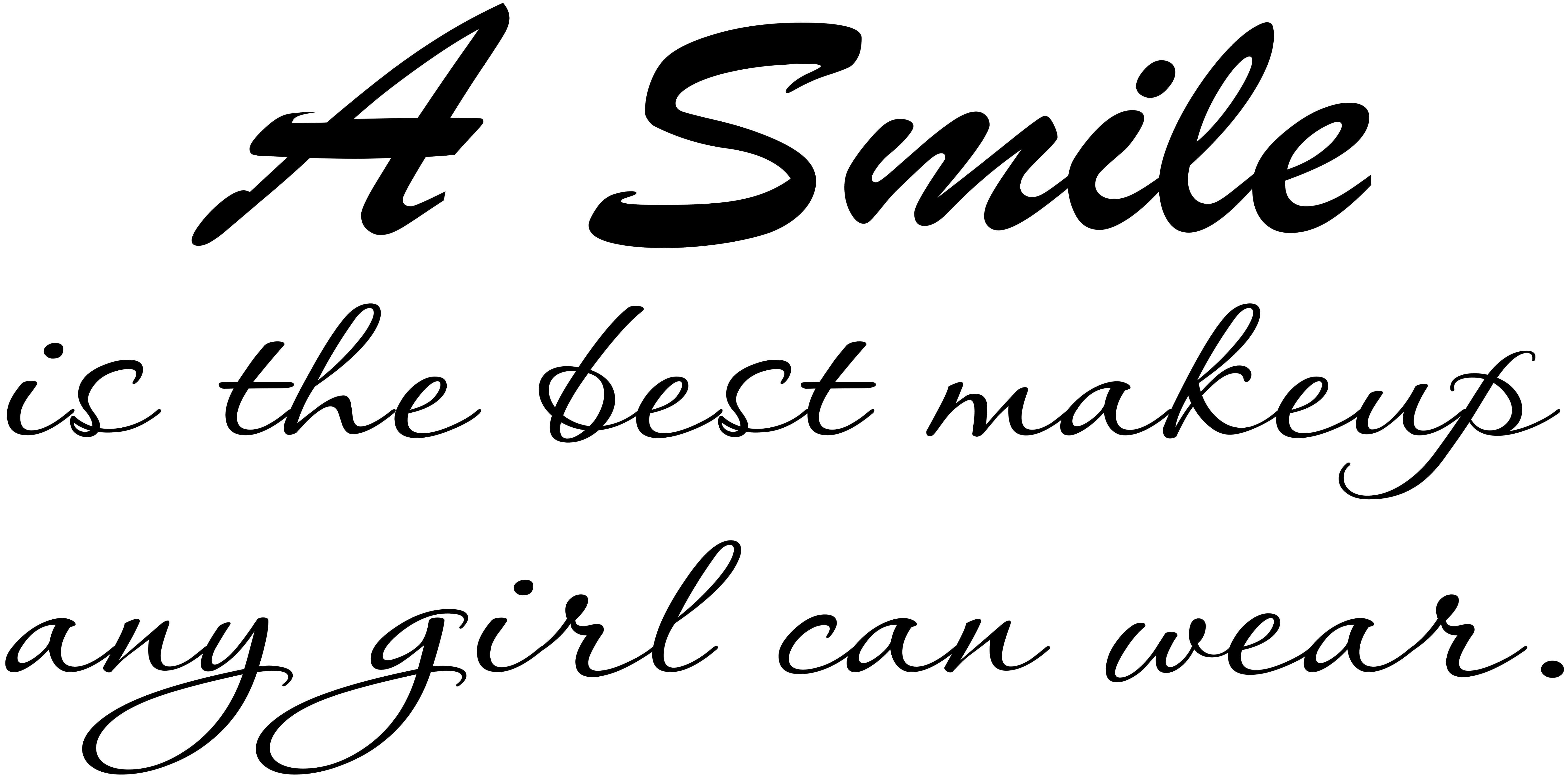A Smile Is The Best Makeup Any Girl Can Wear - Girl Power Vinyl Wall Decal by Scripture Wall Art 11 x 22 Black Image